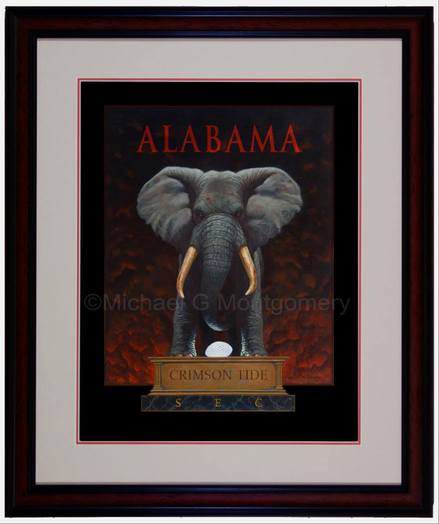 The framed version of a menacing Alabama elephant standing over the national championship trophy