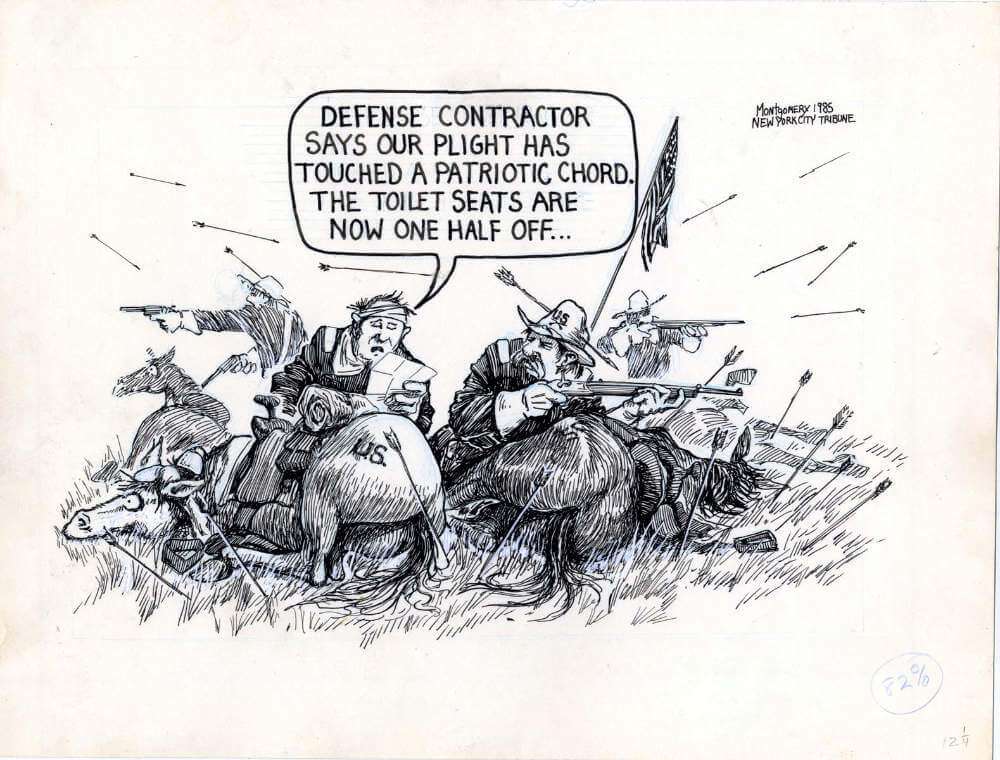 A pen and ink cartoon of defense contractors in a General Custer stand