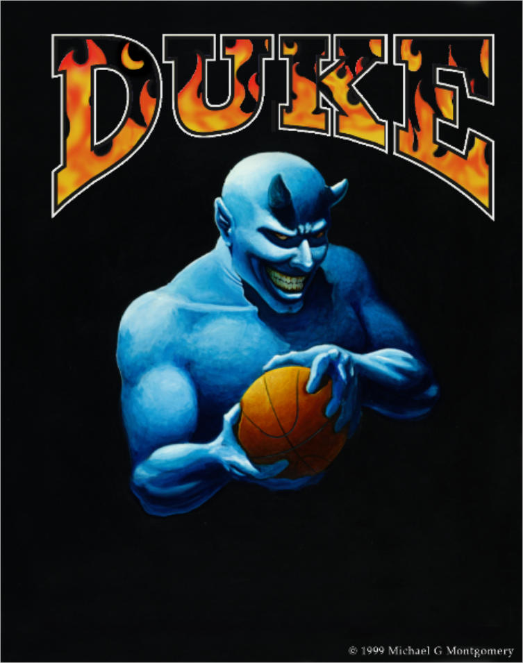A blue devil holding a basketball with an evil smile