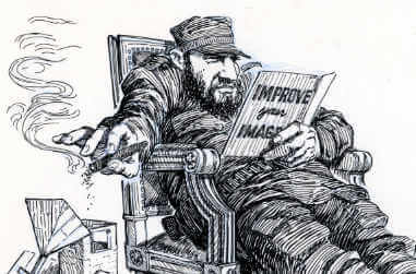 Fidel Castro reclined back in his chair reading about how to improve his image with his feet on an American flag