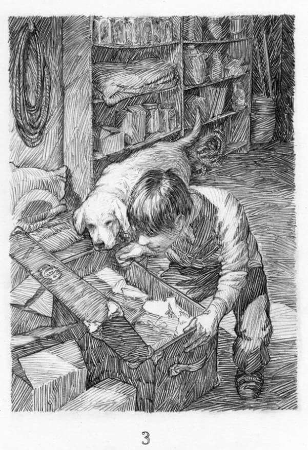 A boy looks into a crate with his dog