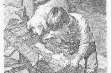 A boy looking in to a trunk of clothes with his dog peering over his shoulder