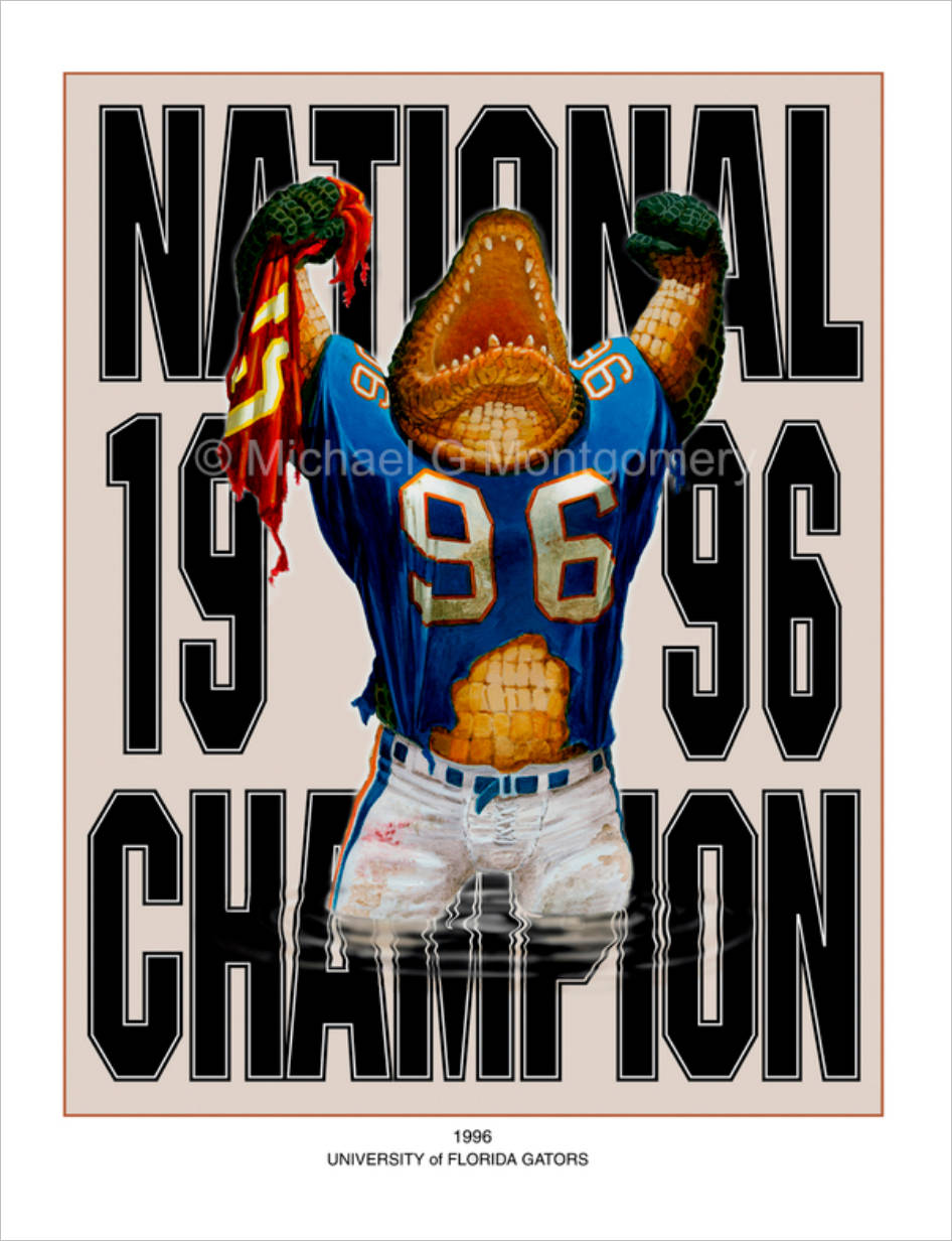 A florida gator in football atire shouting triumphantly with both fists in the air and a torn FSU jersey in one hand