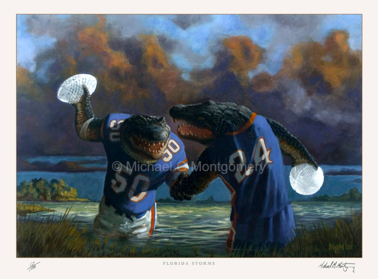 A football gator and a basketball gator each holding championship trophies and shaking hands in a swamp