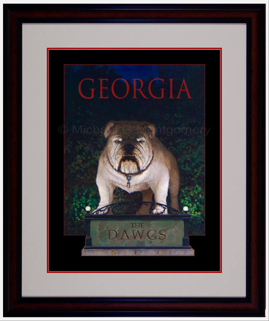 The framed version of a menacing Georgia bulldog standing on a statue with the arches behind him