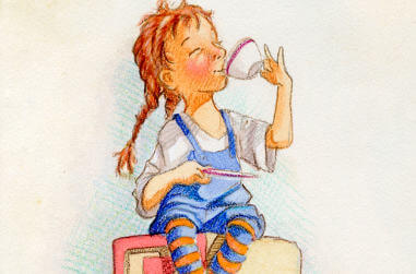 A young girl sipping tea and a young boy holding an oversized lollipop with peas around his feet - thumbnail