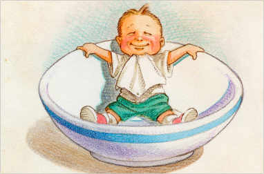 A kid in an oversized teacup