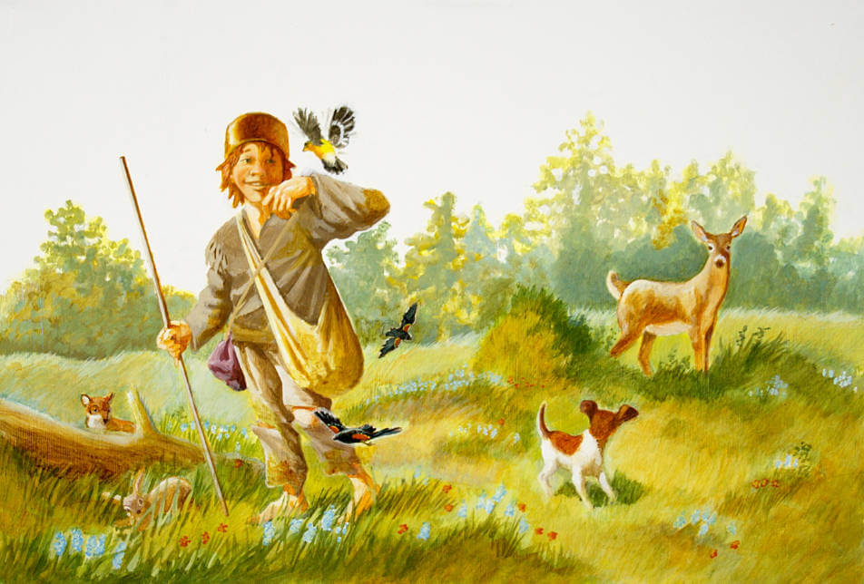 Johnny Appleseed walking through a meadow with a bird landing on his finder and deer in the background