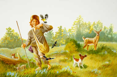 Johnny Appleseed walking through a meadow with a bird landing on his finder and deer in the background - thumbnail