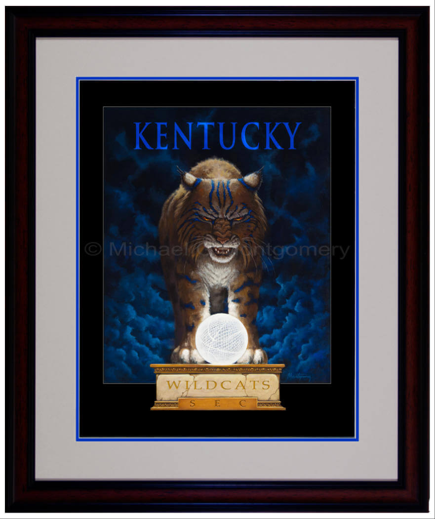 The framed version of a determined  Kentucky wildcat standing over the national championship basketball trophy