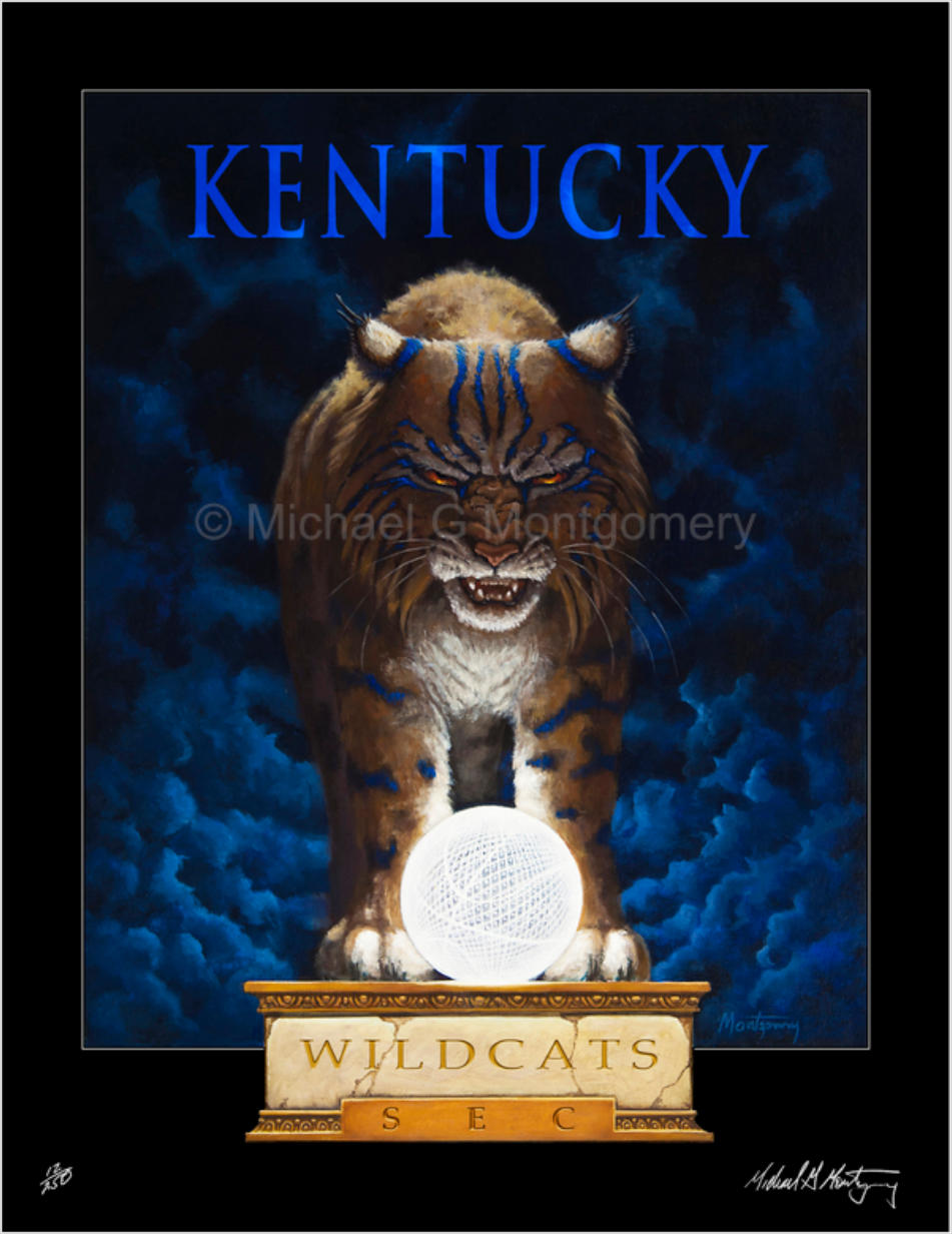A determined  Kentucky wildcat standing over the national championship basketball trophy