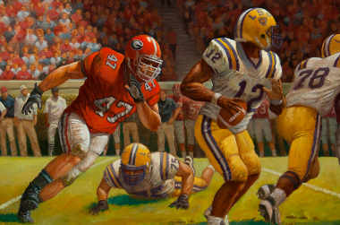 David Pollack in LSUs backfield about the destroy the LSU quarterback