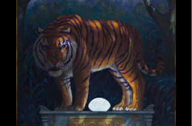 An LSU Tiger standing on a mausoleum in the bayou
