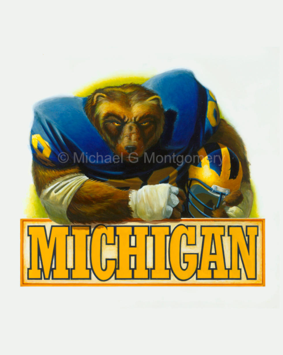A tough looking Michigan Wolverine in football equipment