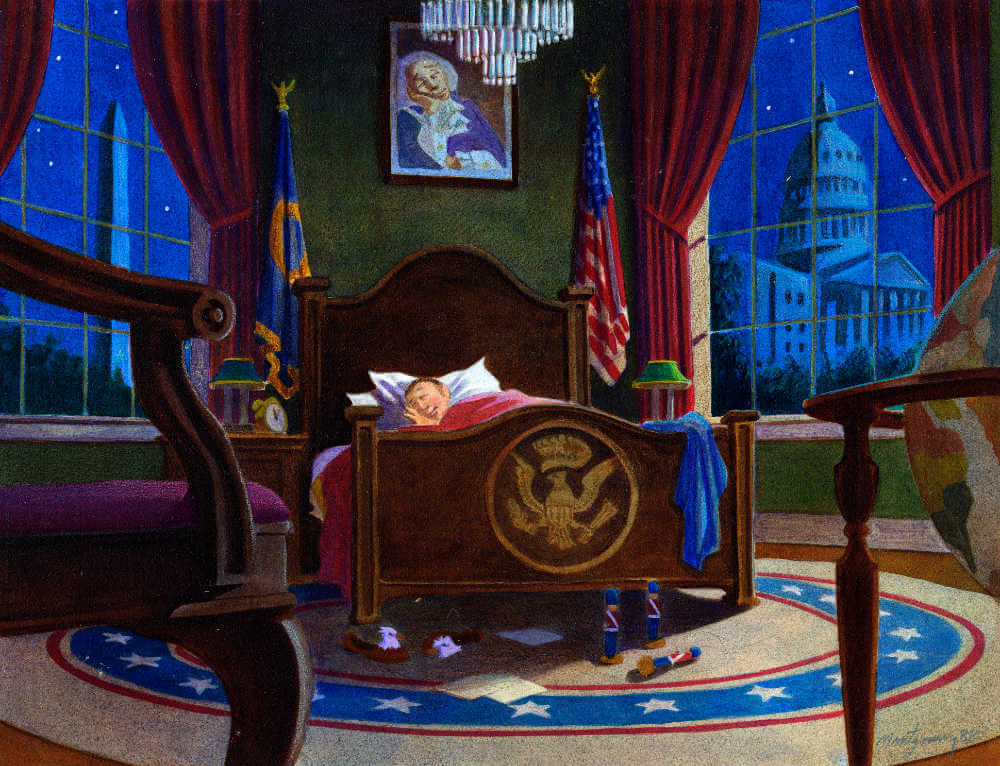 The president asleep in his bed