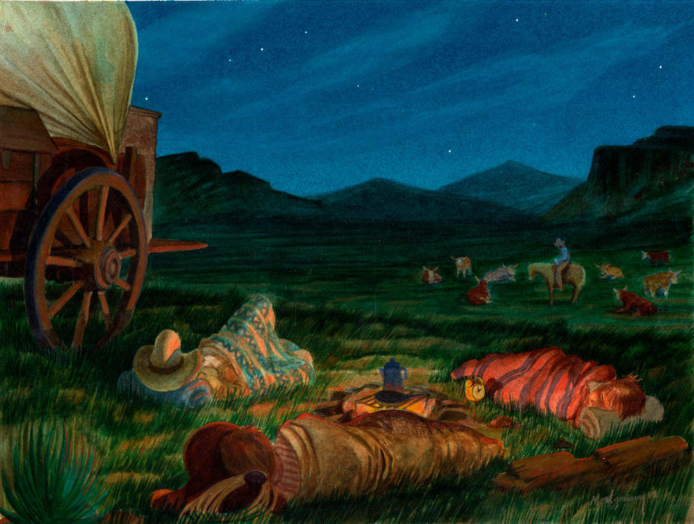 A covered wagon at night with people sleeping in the grass