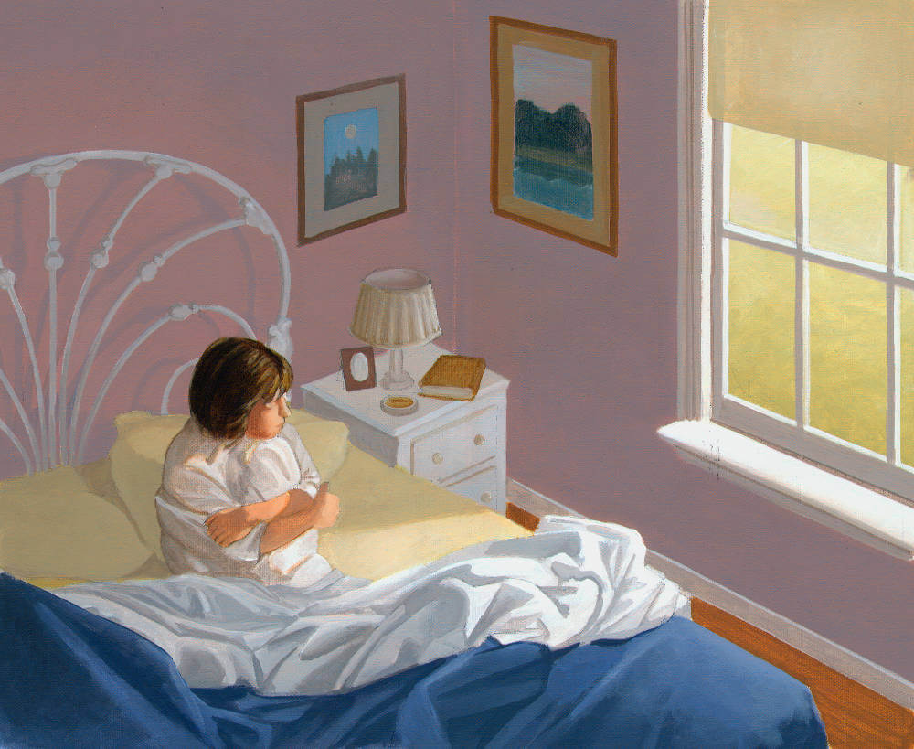 A girl sitting on her bed looking out the window