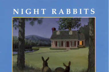 A night view of a house with the lights on with the silhouettes of rabbits in the foreground - thumbnail