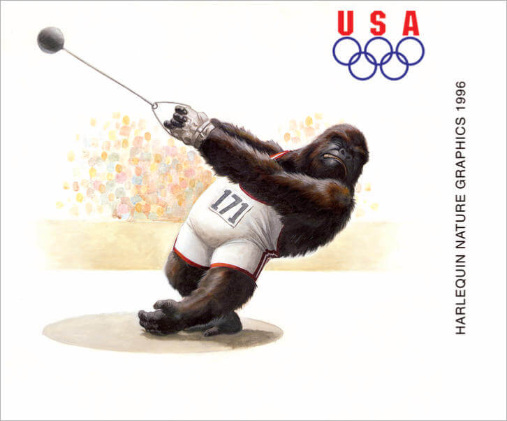 A gorilla throwing the hammer in the olympic games