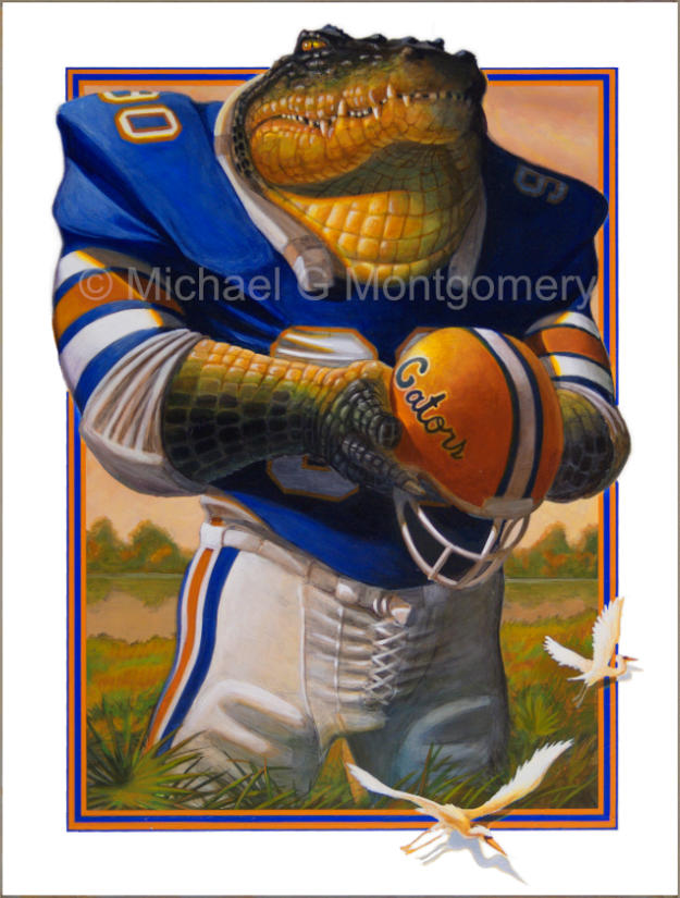 A determined looking Florida gator in football equipment standing in a swamp holding a football helmet