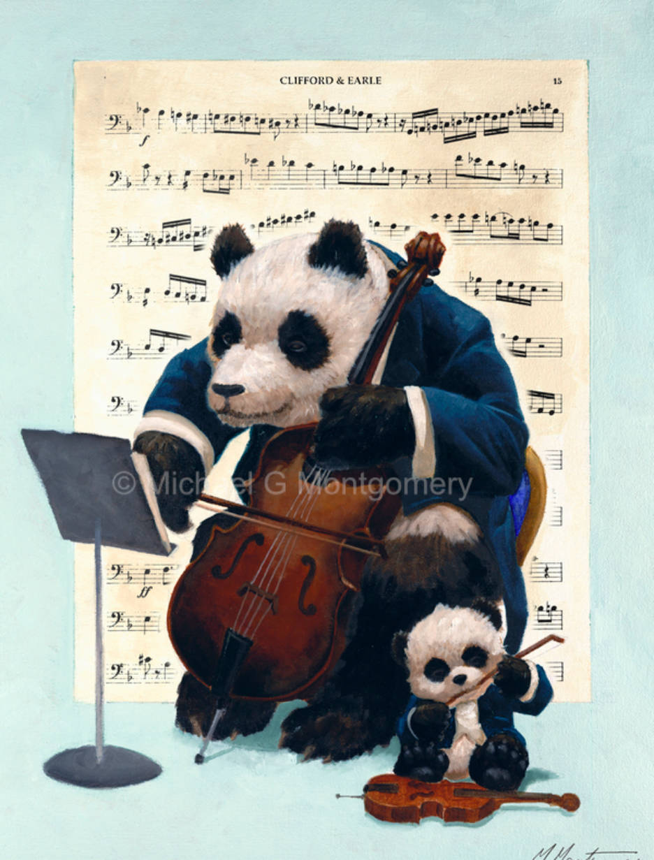 A panda playing a cello with a baby panda gnawing on the bow of a violin