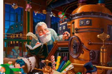 Santa in his workshop making toys