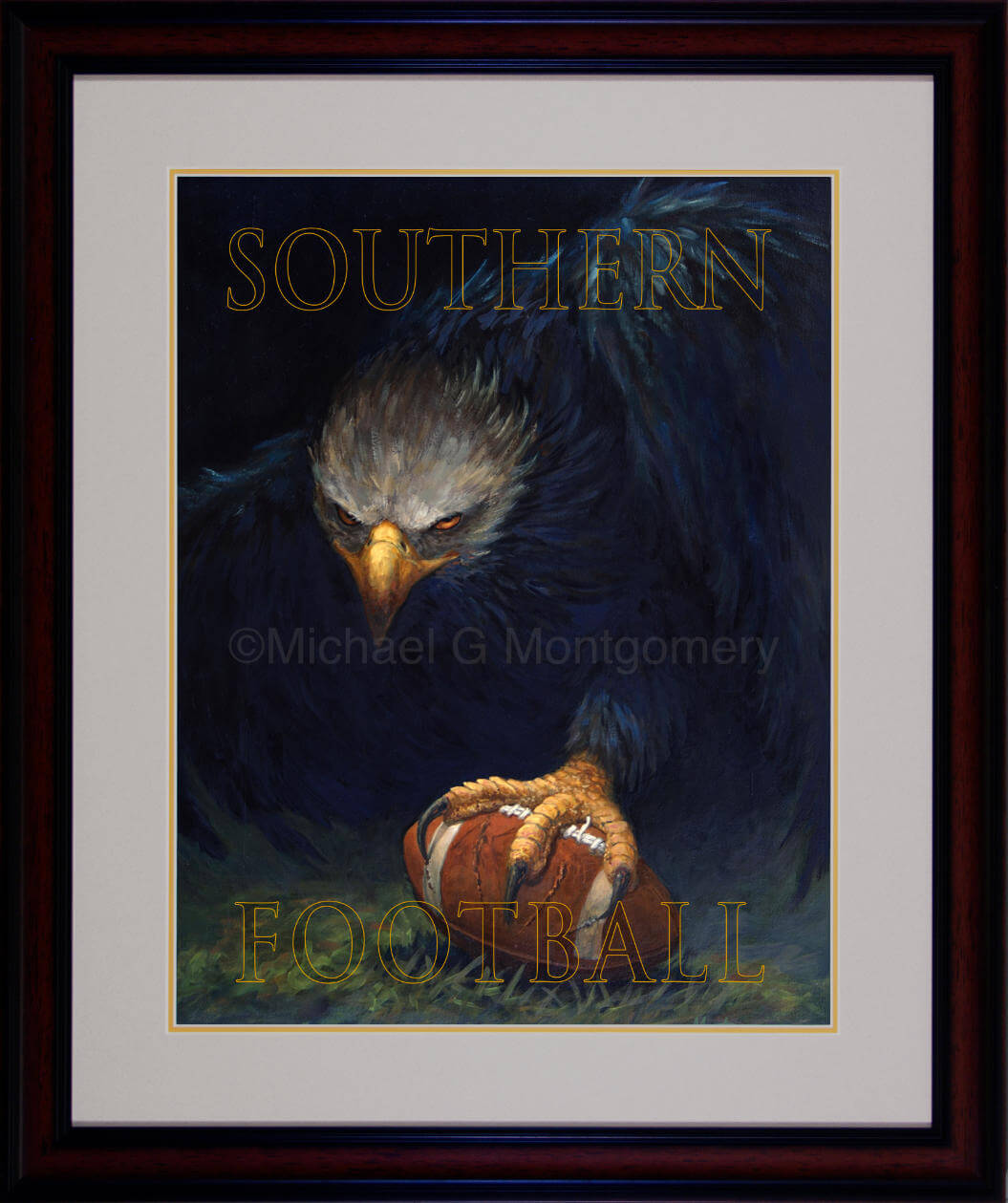 The framed version of an ominous looking eagle protecting a football