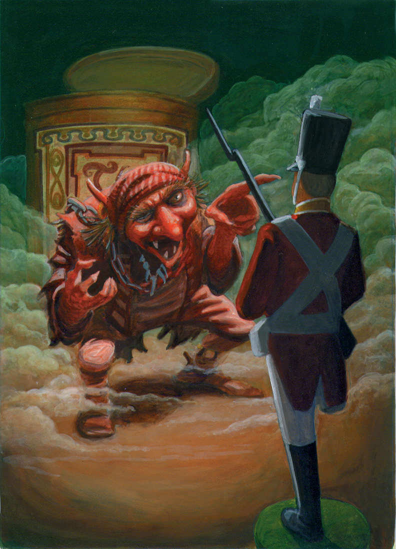 A goblin pointing at the Steadfast Tin Soldier in a fog