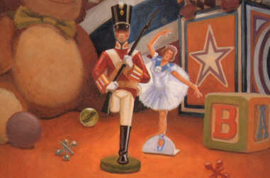 A tin soldier with one leg standing while a paper ballerina dances in the background - thumbnail